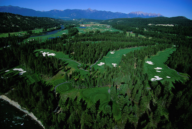 Aerial view of St. Eugene Golf Resort and Casino, Cranbrook, B.C.