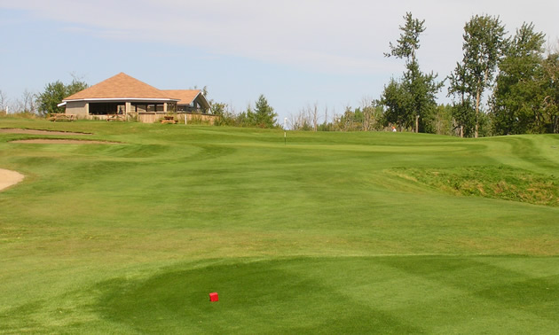 A view of the clubhouse from the course