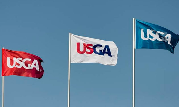 Flags with the USGA logo on them.