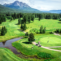An aerial view of the luscious greens at Fernie Golf & Country Club.