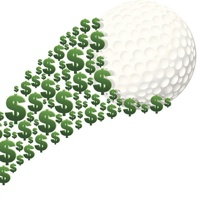 A graphic of green dollar signs under a flying golf ball.