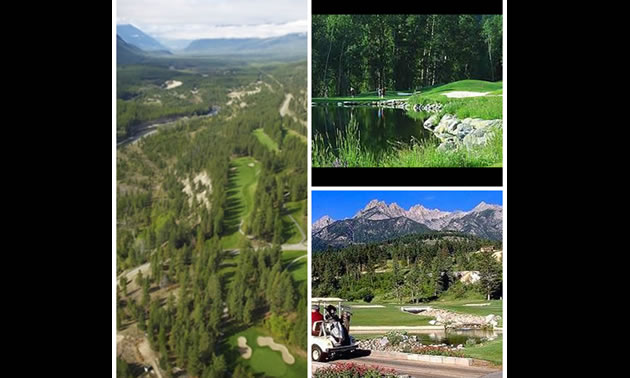 A collage of the Mountainside, Redstone and Kimberley golf courses.