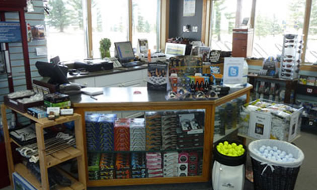 Picture Butte Golf Club Pro shop counter.