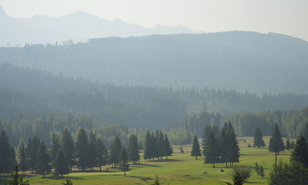 Overlooking the Elkford Mountain Meadows Golf Club.
