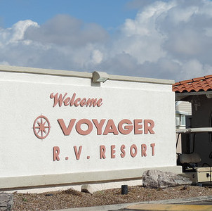 Security starts at the front gate of Voyager RV Resort in Tucson, AZ.