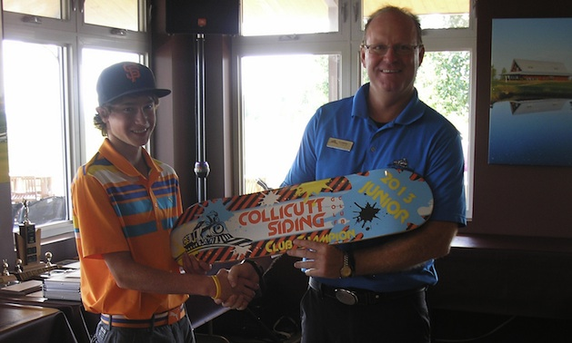 Head pro Lyndon King with 2013 junior club champion of Collicutt Siding Golf Club.
