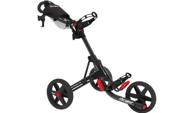 A Clicgear, 3-wheeler push cart.