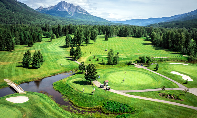 An aerial view of the luscious greens at Fernie Golf & Country Club.